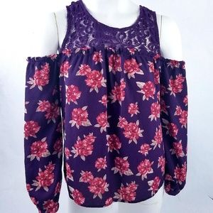 Mine Blouse Size S Purple Maroon Floral Col